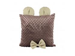 Poduszka ozdobna z uszkami - brązowa